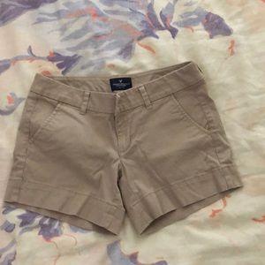 American Eagle midi khaki shorts